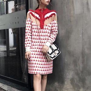 Ruffles Sweater Dress heart Winter Dress